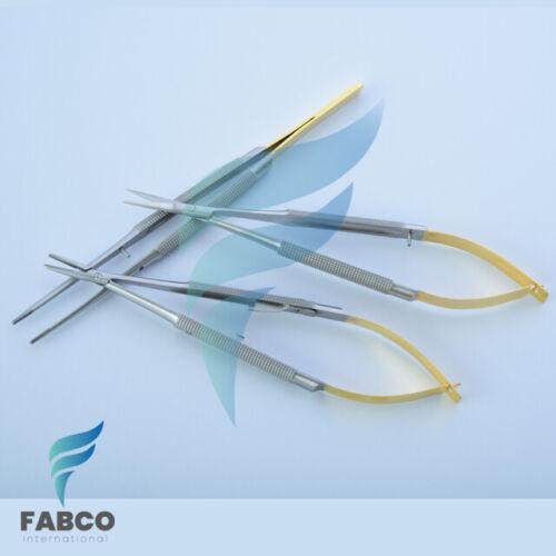 3Pcs Castroviejo Micro Scissors Needle Holder Curved TC Forceps Dental Eye Set