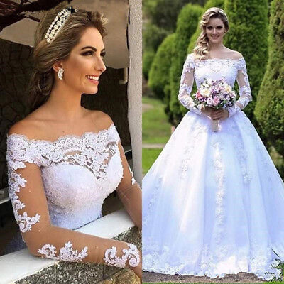 Vintage Lace Appliqued Princess Wedding Dresses Off Shoulder Country Bridal Gown