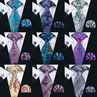 USA Mens Tie Classic Silk Black Blue Purple Necktie Set Paisley Floral Tie Hanky ()