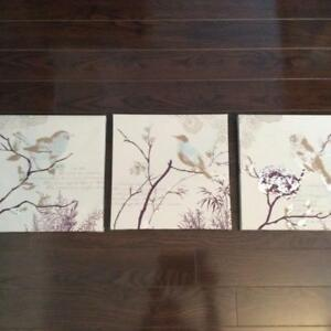 Set of 3 Bird Canvas Pictures - Wall Decor