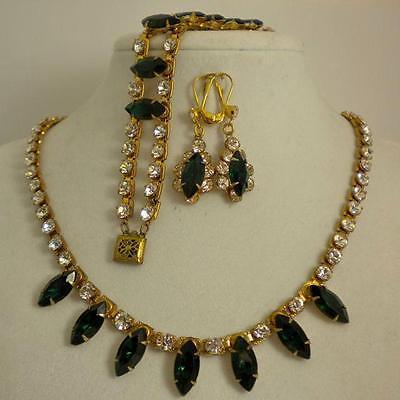 Vintage Green & Crystal Rhinestone Gold-tone Parure, Necklace/Bracelet/Earrings