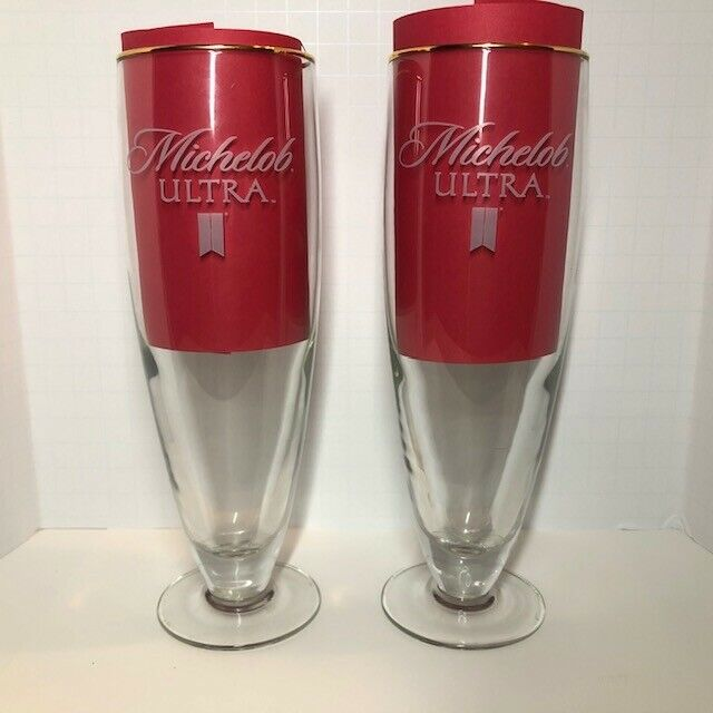 Michelob Ultra Beer Glass ( Set of 2 ) Footed / Gold rim / Etched