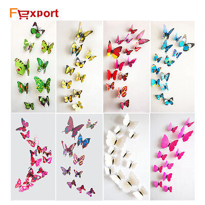 12 Pcs/Lot PVC 3D Butterfly Wall Stickers Decals Home Decoration Poster Bedroom