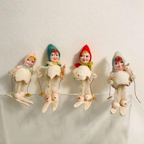 Vintage Christmas Ornaments GIRLS SKIING Set of 4 DELTA NOVELTY CO., JAPAN