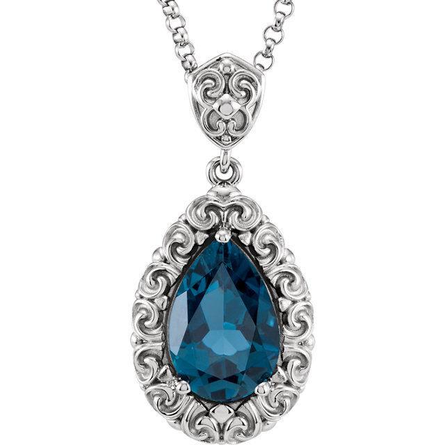 "14K White Gold New Vintage Victorian Style Genuine London Blue Topaz 18""Necklace"