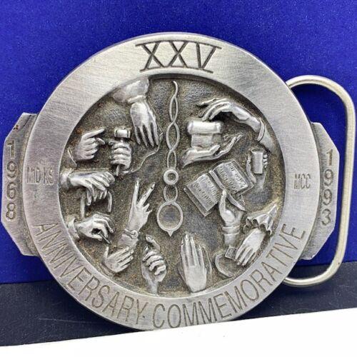 Masonic belt buckle XXV anniversary world hunger Christ pewter siskiyou vintage