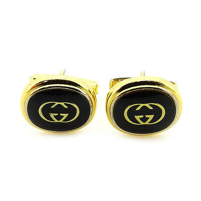 GUCCI Cufflinks Interlocking Mens Authentic Used T2770
