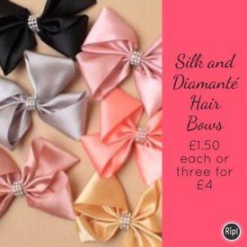 Silk and Diamanté Hair Bows
