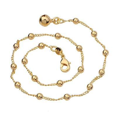 """9ct 9k Yellow """"Gold FILLED"""" Ladies BEADED ANKLE CHAIN ,Bell ANKLET . 10.5"""" Gift"""