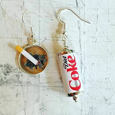 Handmade DIET COKE CAN & CIGARETTE EARRINGS MINIATURE fab COCA COLA fags CIGGY
