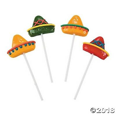 Cinco De Mayo Party Favors (12 Fiesta Cinco De Mayo PARTY Mariachi Mexican Sombrero Lollipops SUCKERS)