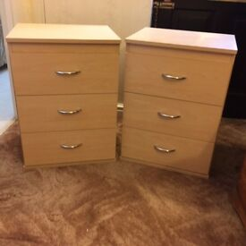 Pair of Beech Effect bedside tables with chrome handles