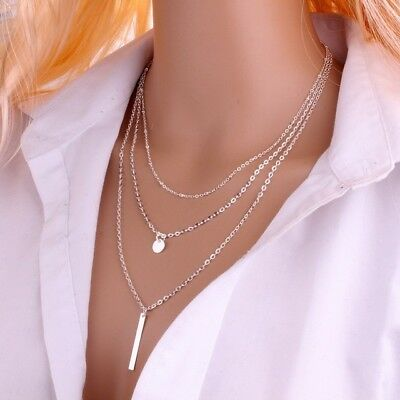 Lariat Necklace Coin Bar Triple Y Drop Chain Simple 3 Layer Silver Gold Dainty - Gold Bead Necklaces