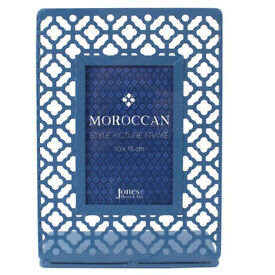 Moroccan style blue metal photo frame 4x6 - brand new