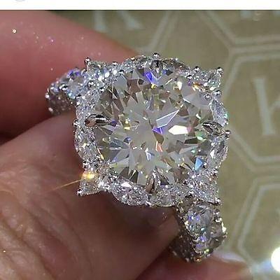 New 925 Silver White Sapphire Birthstone Engagement Wedding Jewelry Ring Sz 6-10 - Birthstone Ring