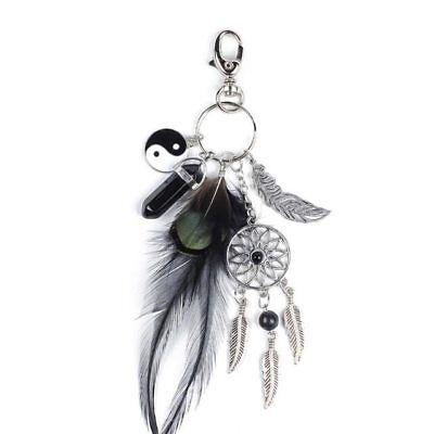 Schlüsselanhänger Traumfänger Glücksbringer Geschenk Metall Feder Yin Yang (Glücksbringer Schlüsselanhänger)