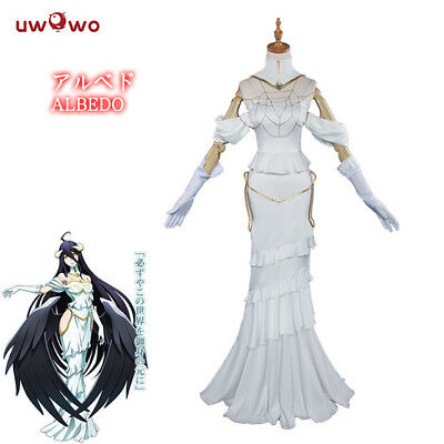 New Anime Overlord Albedo Cosplay Halloween White Dress Costume for Women UWOWO