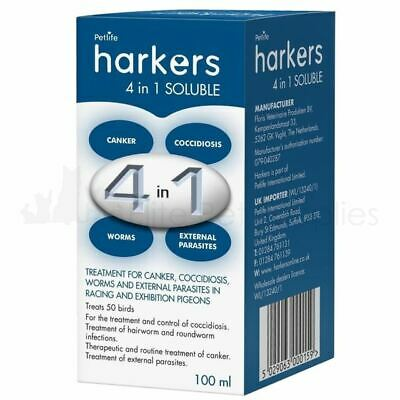 Harkers 4 in 1 Soluble Pigeon Treatment Coccidiosis Canker Worms Lice Mite