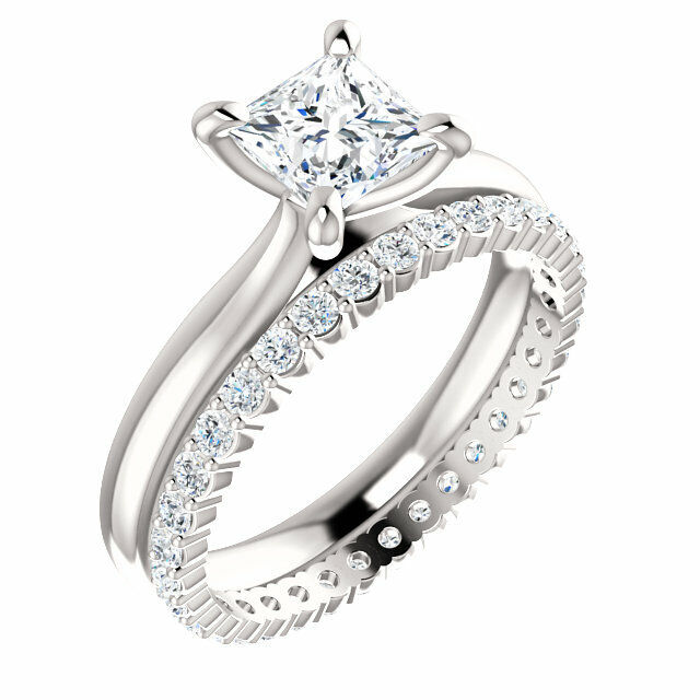 2.70Ct Princess Cut Diamond Engagement Ring w Eternity Wedding Band G VS2 GIA