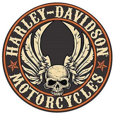 """HARLEY DAVIDSON-Flying Skull Button Embossed 14 """" Round- TIN SIGN-New!!"""