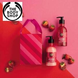 NEW 2PC BODY SHOP HAND DUO GIFT SET 227121987 STRAWBERRY Hand Wash 250ml AND Hand Lotion 250ml