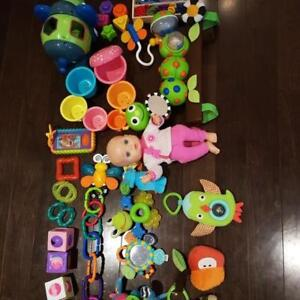 Assorted baby toys and a free $10 Similac coupon