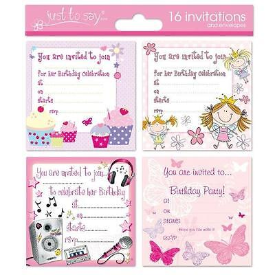 - 16 x Girls Childrens Birthday Invite Party Invitations.. Fairy Butterfly Cupcake