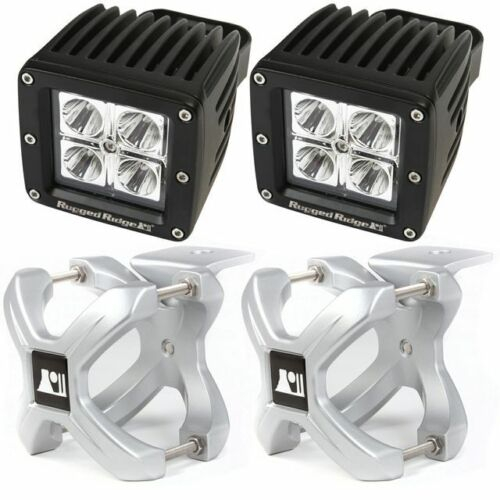 Rugged Ridge X-Clamp And Square Led Light Kit, Small, Silver, 2 Pieces 15210.32