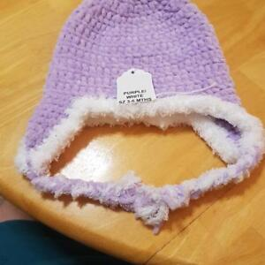 PURPLE AND WHITE FUZZY HAT SZ 3-6 MTHS