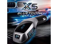 Bluetooth in-car fm transmitter and charger(can be linked with your mobile)