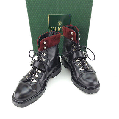 Auth GUCCI boots lace up ladies used J13382