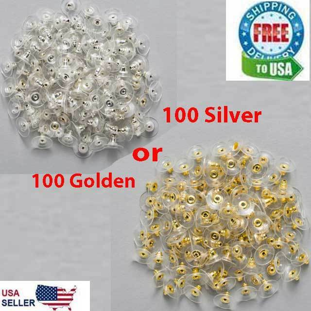 100 Earring Backs Posts Silver Golden Backings Stopper Ear Ring Jewelry Nut 11 Beads & Jewelry Making