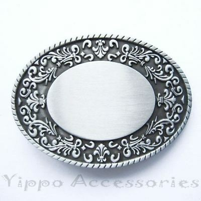 Blank Flower Trim Oval Western Metal Fashion Belt Buckle