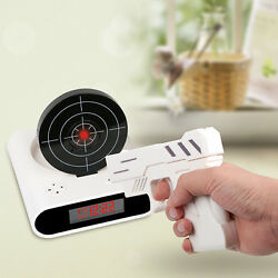Gift White LCD Screen Laser Target Gun Alarm Clock Shoot to Stop Game Novelty US