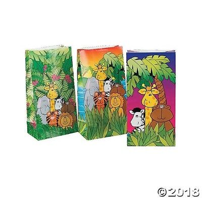 12 Zoo SAFARI JUNGLE paper Treat LOOT BAGS BABY SHOWER birthday Party covid 19 (Baby Shower Treat Bags coronavirus)