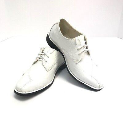 Hugo Vitelli Boys White Dress Shoes with Laces Sizes 12.5 - 3 - Boys White Dress Shoe