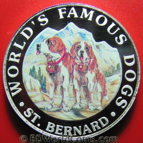 1994 GUINEA EQUATORIAL 7000 FRANCOS SILVER PROOF SAINT BERNARD DOG COLORED 38mm