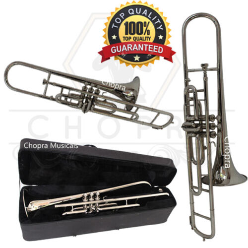 Trombone Nickel Plated 3 Valve with Mouthpiece with Case Fast-Free Shipping