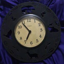 Northern Retreat Metal Round Wall Clock Lodge Cabin Hunting Bear Deer Fish