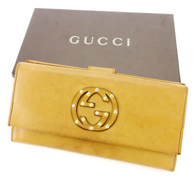 Auth GUCCI purse Double G studs unisexused J20504