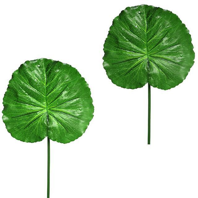 Pair+of+Artificial+Lotus+Leaf+with+Raindrops+-+Decorative+Foliage+%26+Leaves