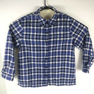 LL BEAN Women's Sherpa Fleece Lined Button Up Shirt Blue Plaid Size M Petite for sale  Shipping to South Africa