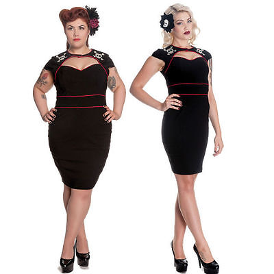 HELL BUNNY BLACK RED SUGAR SKULL ROCKABILLY PIN UP PENCIL DRESS 8-22 PLUS SIZE