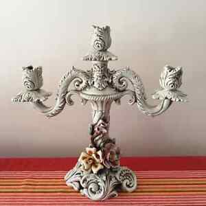 Antique ceramics candleholder Italy(Ancien chandelier Italian)