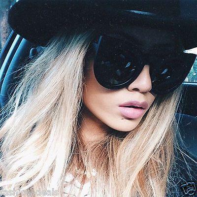Oversized Xtra Large Round Cat Eye Wolves Foxes Style Women Sunglasses (Large Black Cat Eye Sunglasses)