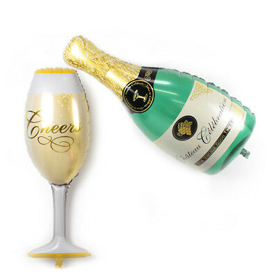 2PCS Champagne Bottle Cheers Glass Helium Balloon new years party celebration  - Helium Bottle