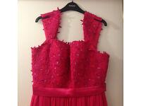 Gorgeous Long Dark Pink Chiffon Dress - Size 14/16