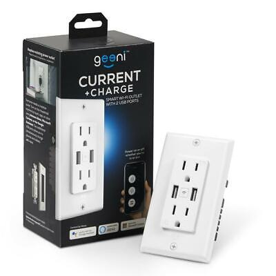 Geeni Current+Charge Smart Wi-Fi Wall Outlet With 2 Plugs/USB Ports Controllable