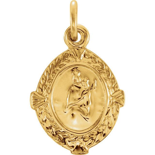 Scapular Medal In 14k Yellow Gold Ebay