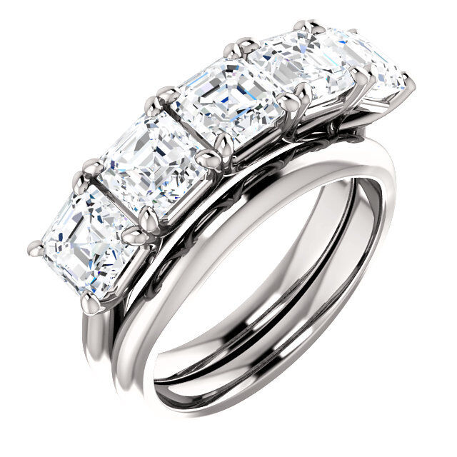 3 carat, 5 Asscher cut Diamond GIA E VS1 0.60 ct each Wedding Ring 18k Gold Band
